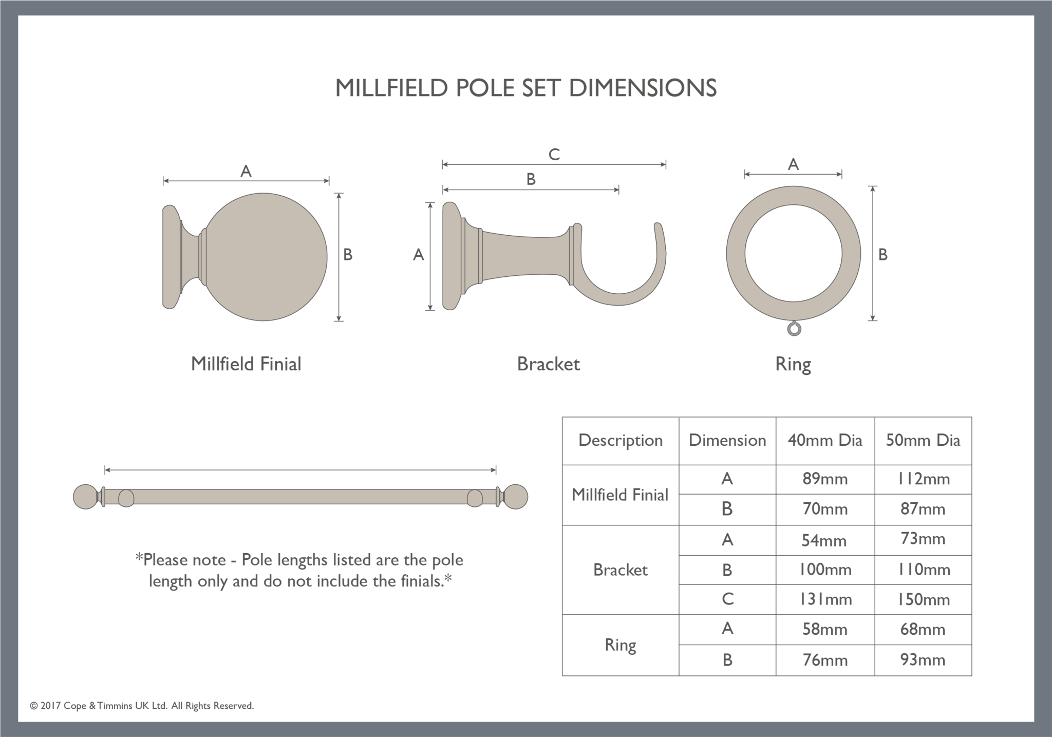 Dimensions of the Millfield curtain pole set components