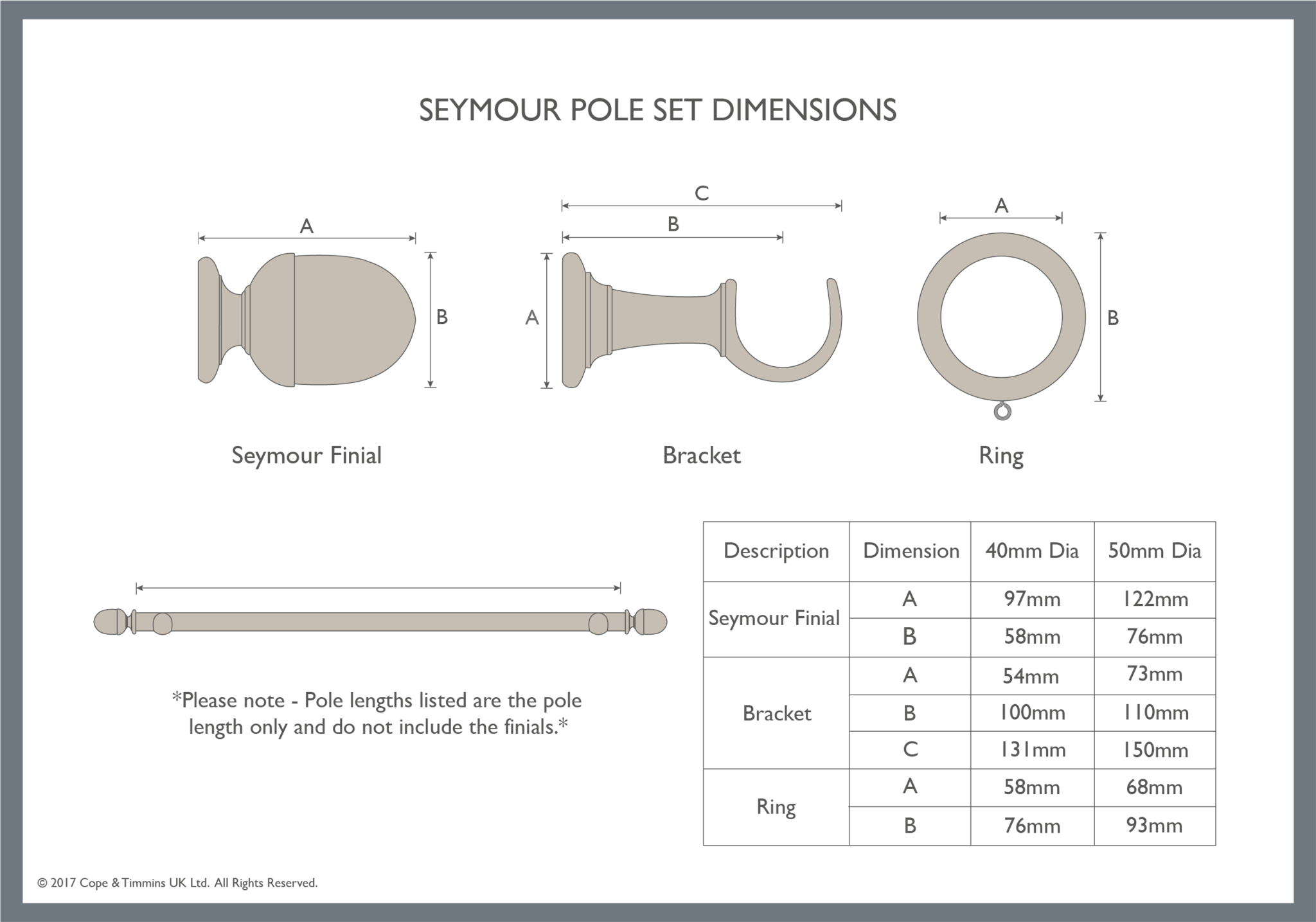 Seymour curtain pole set component dimensions