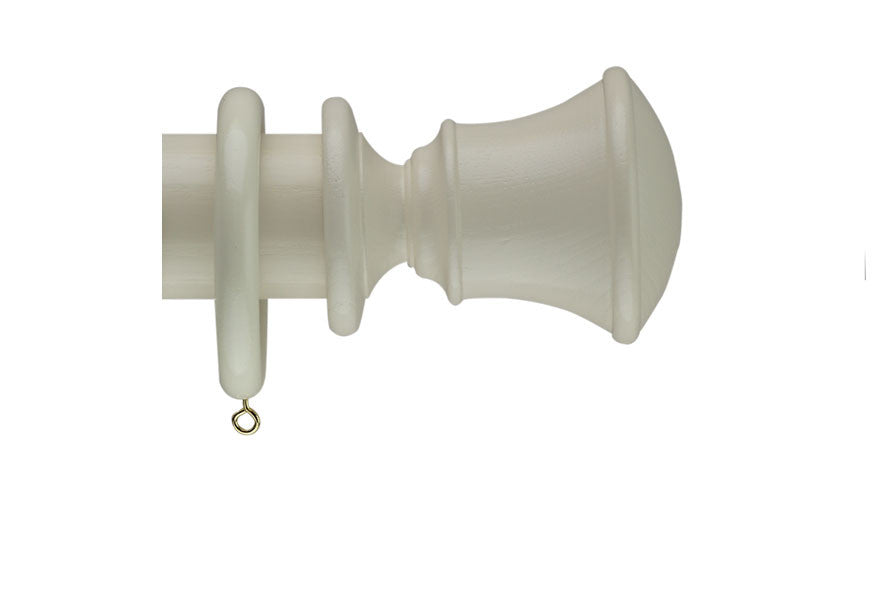 40mm Curtain Pole Sample in Cream with Orton Finial