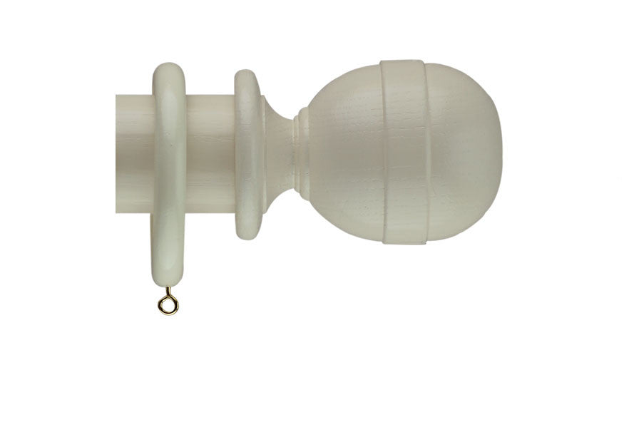 40mm Curtain Pole Sample in Cream with Westcott Finial
