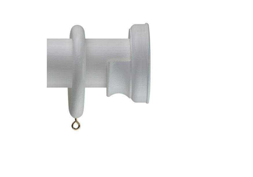40mm Curtain Pole Sample in White with Radley Finial