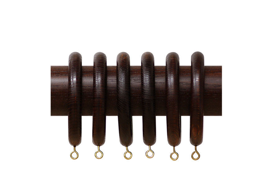 Wooden Curtain Pole Rings in Mahogany