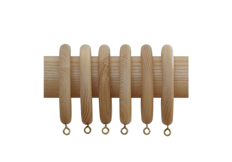 Natural Wood Curtain Pole Rings (Box of 6)