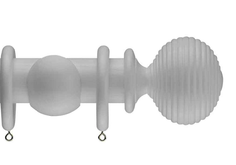White curtain pole with langton wood finial