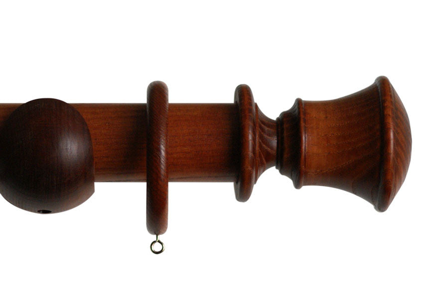 Wood Curtain Pole with Orton Finial in Cherry  Finish