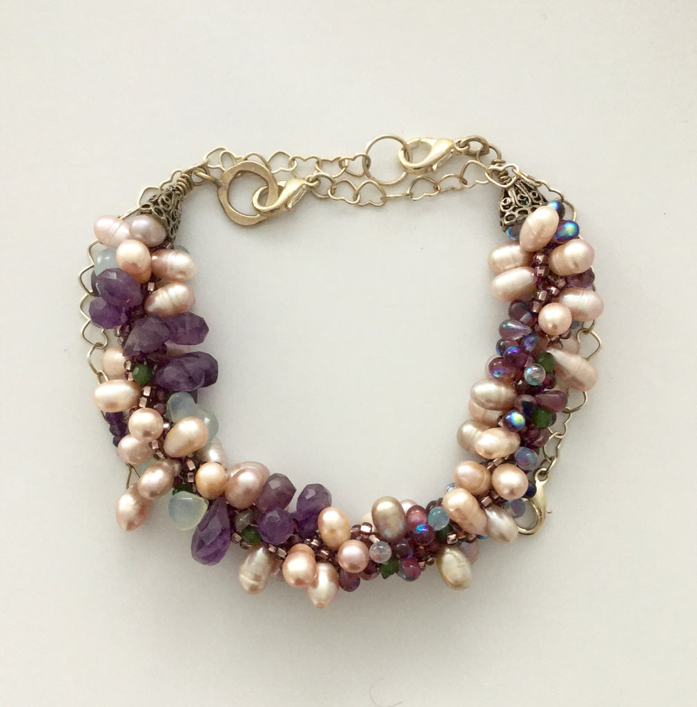 Necklace/Bracelet 2-in-1 Braided Kumihimo Pearl & Gem