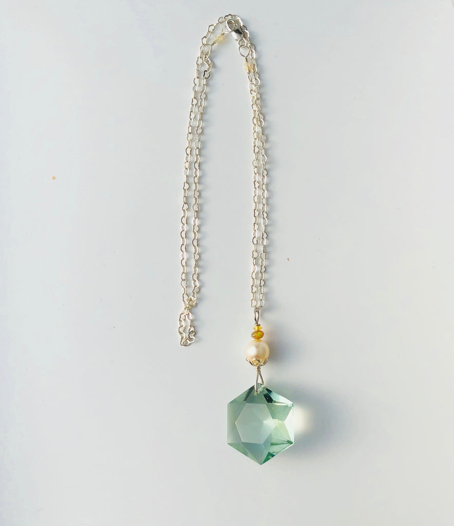 John of God Green Obsidian Embellished & Blessed Crystal (  1930's Baroque Pearl & Opal) Necklace
