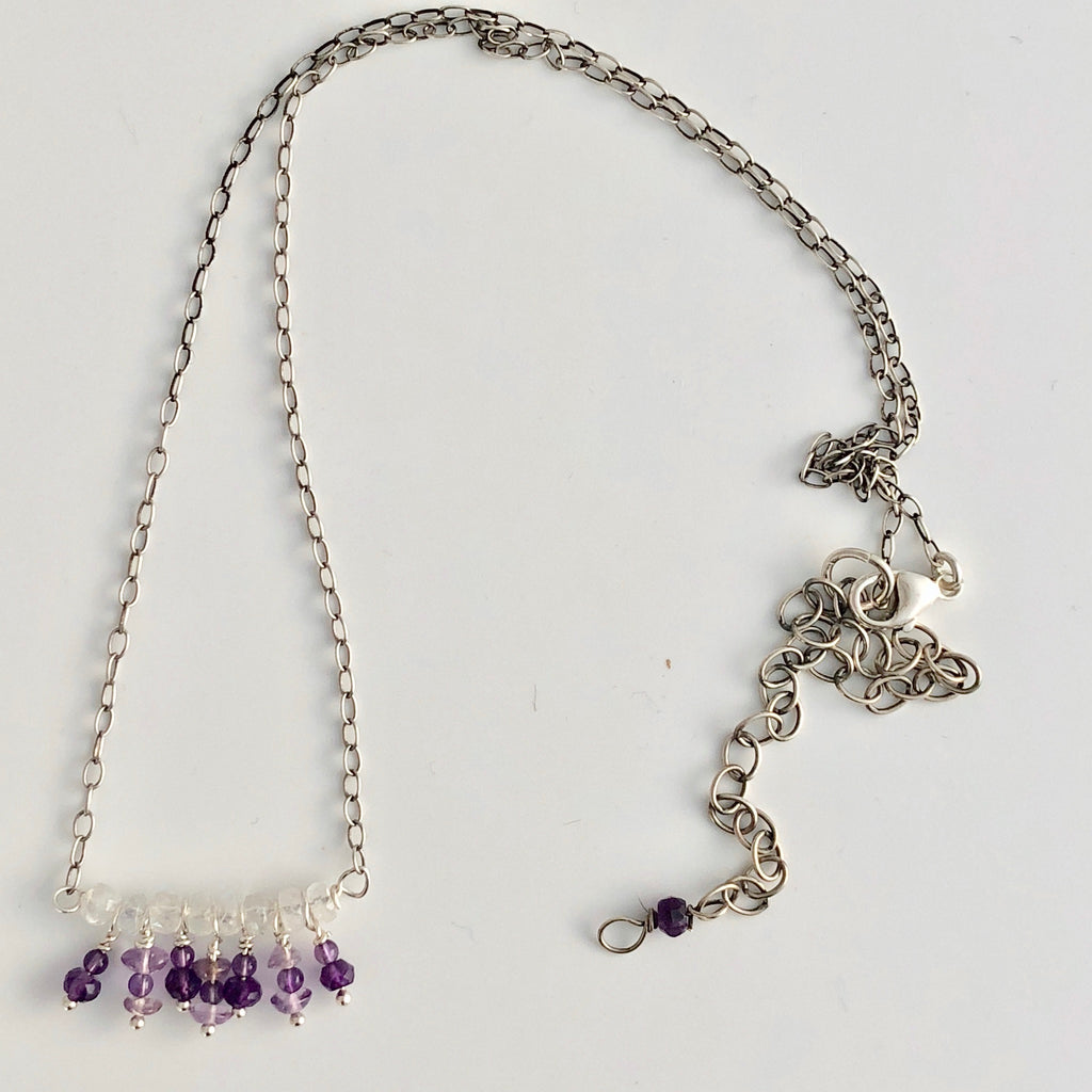 "Dangling Amethyst Necklace  18"" w/ 4.5"" extender"