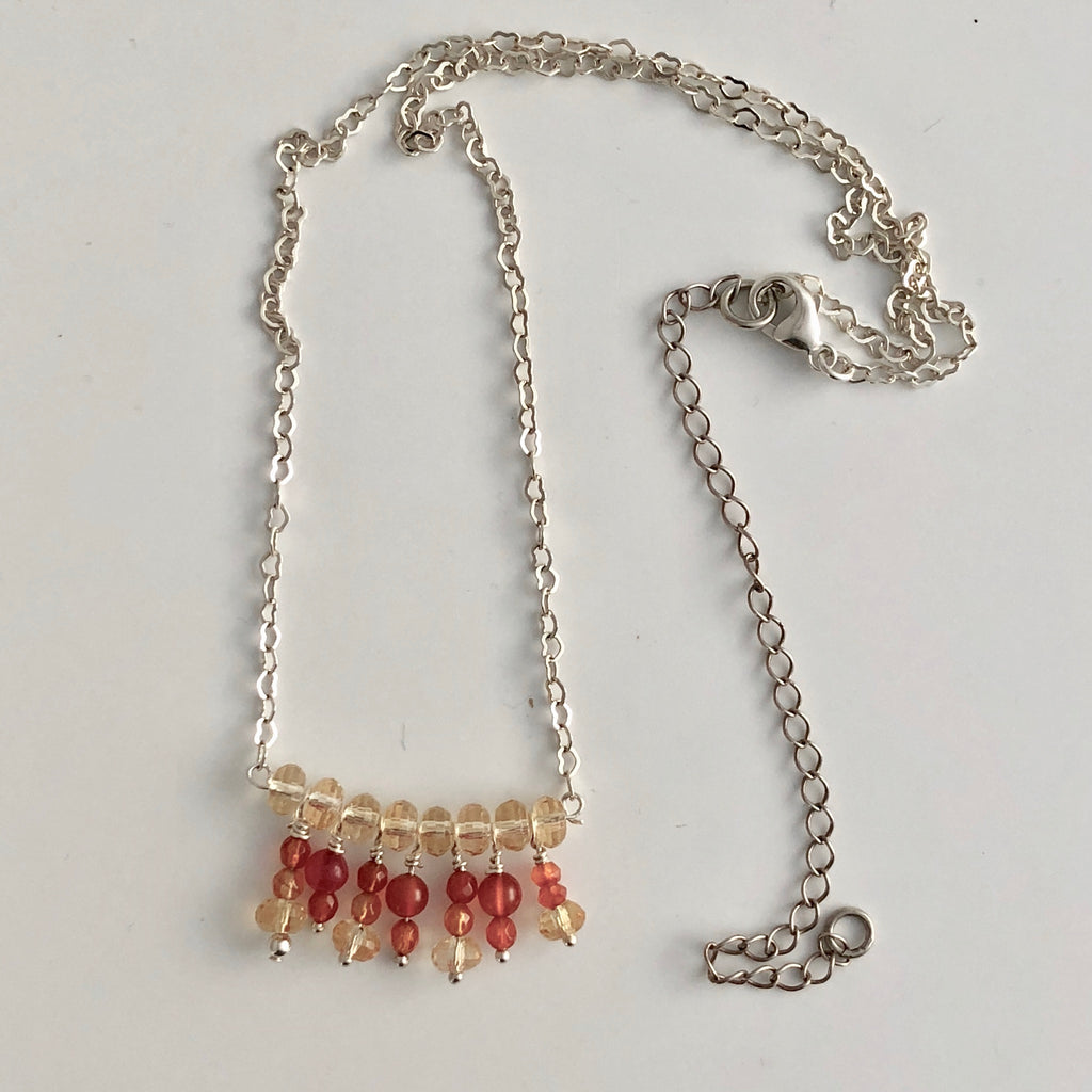 "Dangling Carnelian Necklace  18"" with 4"" extender"