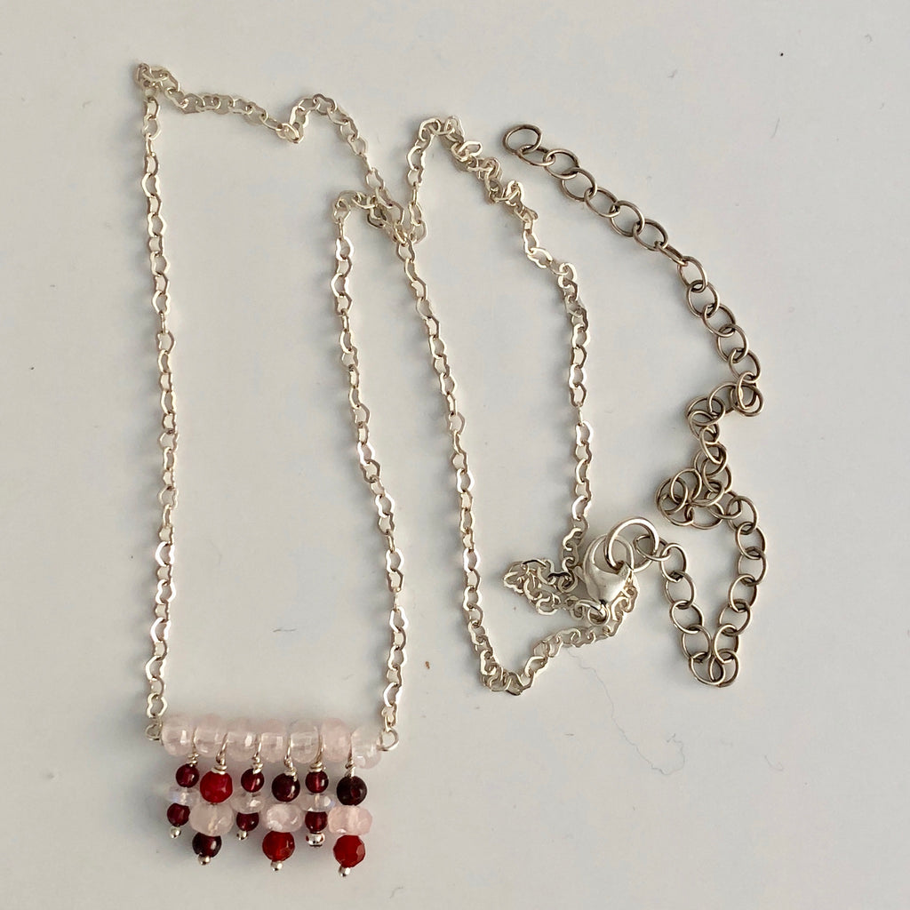 "Dangling Garnet Necklace 18"" w/ 5"" extender"