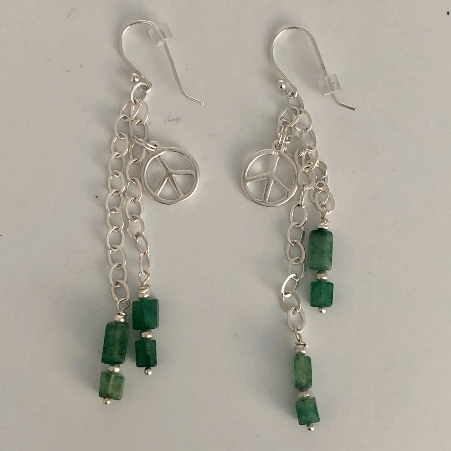 Anniversary Peace Sign Earrings -  Aventurine