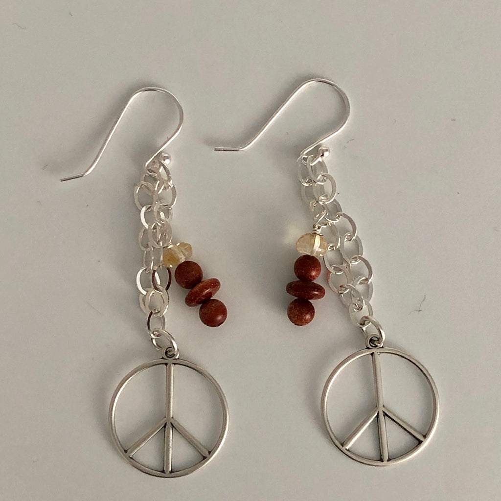 Anniversary Peace Sign Earrings - Goldstone