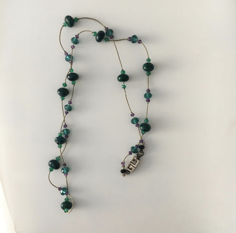 Necklace Green Garnet/Amethyst gems Hand Knotted on Silk with Vintage clasp