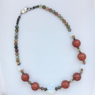 Necklace Carnelian Moonstone Agate Silver Necklace