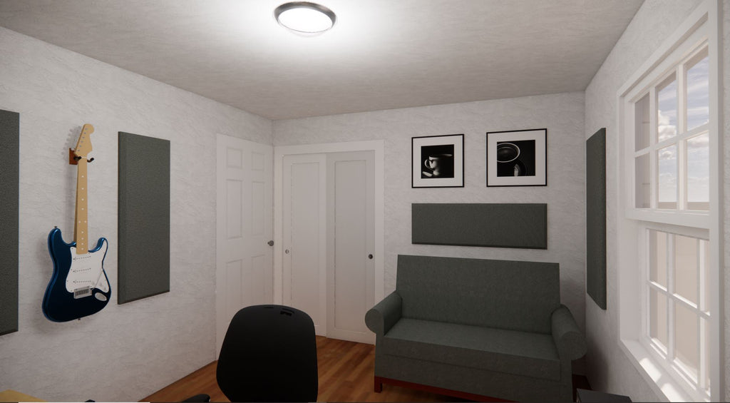 StudioAF Acoustic Panel Room Kit in a mid-sized home recording studio