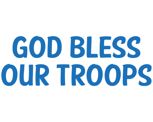 God Bless Our Troops Decal - Sticker Whale  - 1