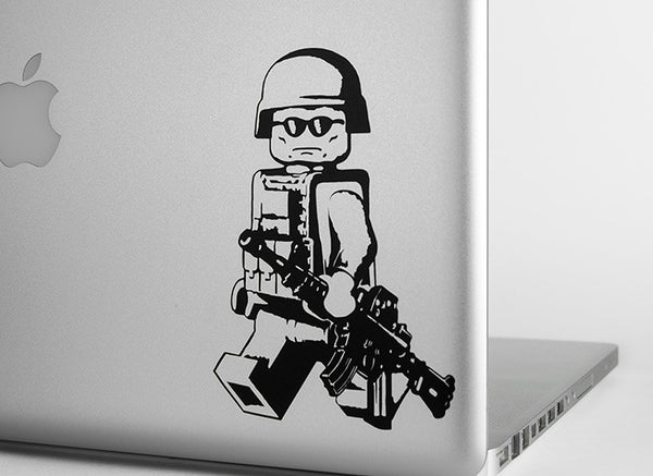 LEGO Walking Modern Minifig with M4A1 Vinyl Decal - Sticker Whale  - 1