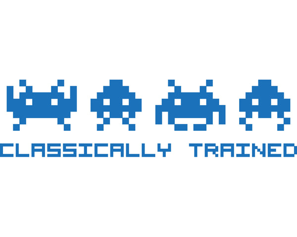"""Classically Trained"" Space Invaders Vinyl Decal - Sticker Whale  - 1"