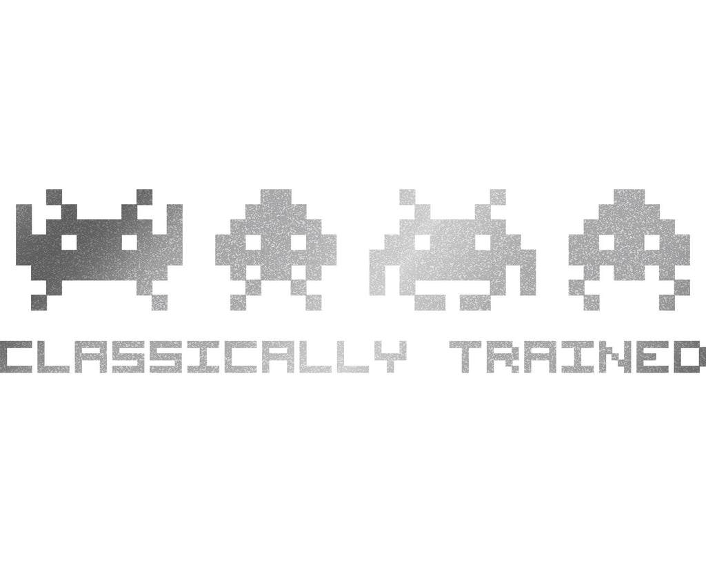 """Classically Trained"" Space Invaders Vinyl Decal - Sticker Whale  - 16"