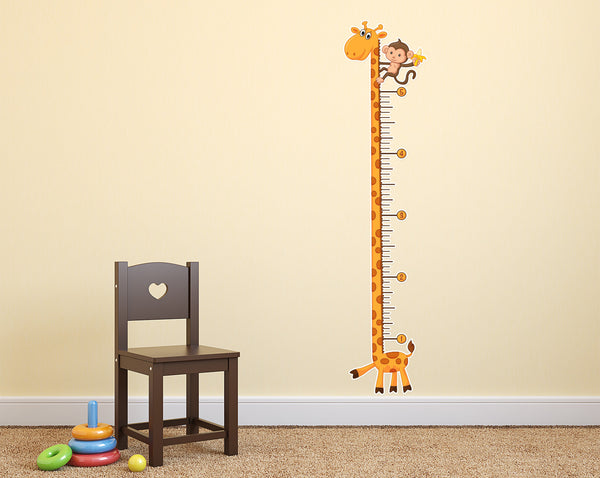 Giraffe Growth Chart Wall Decal - Sticker Whale