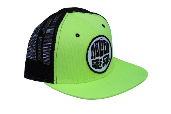 Malibu Surf Shack Snap-Back Mesh Patch Cap - Neon Yellow Mesh