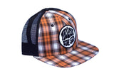 Malibu Surf Shack Snap-Back Mesh Patch Cap - Orange Plaid