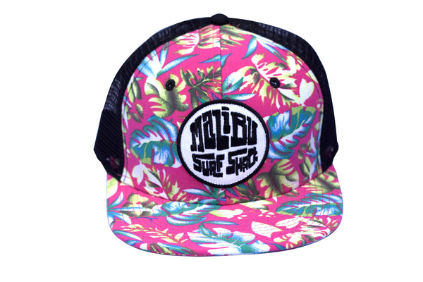Malibu Surf Shack Snap-Back Mesh Patch Cap - Pink Floral