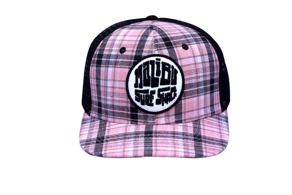 Malibu Surf Shack Snap-Back Mesh Patch Cap - Pink Plaid