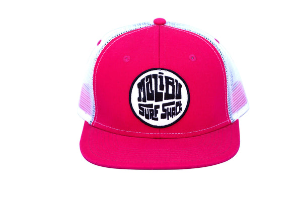 Malibu Surf Shack Snap-Back Mesh Patch Cap - Fuschia w/ White Mesh