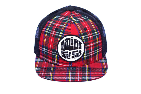 Malibu Surf Shack Snap-Back Mesh Patch Cap - Red Plaid