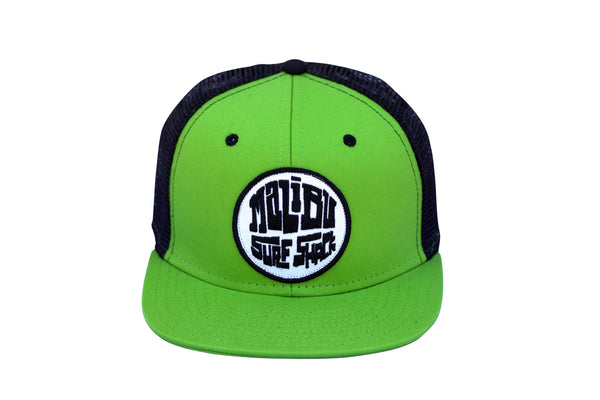 Malibu Surf Shack Snap-Back Mesh Patch Cap - Lime