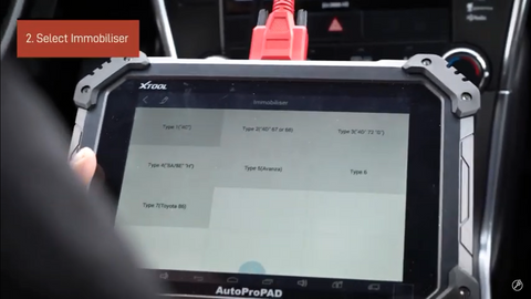 Select immobiliser on AutoProPAD