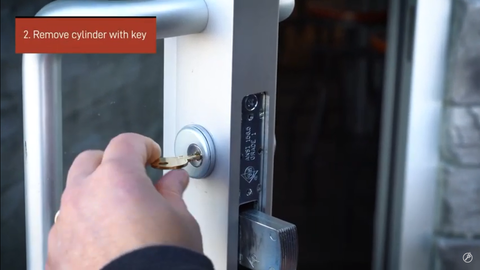 remove cylinder with a key