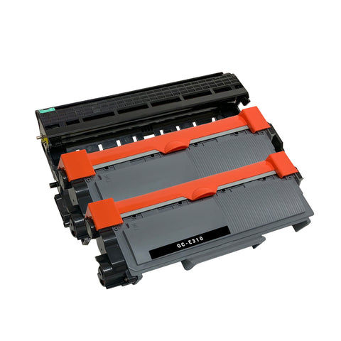 Compatible Toner Cartridge & Drum Unit Replacement for Dell 593-BBKD PVTHG P7RMX C2KTH WRX5T (2 x Toner & 1 x Drum)