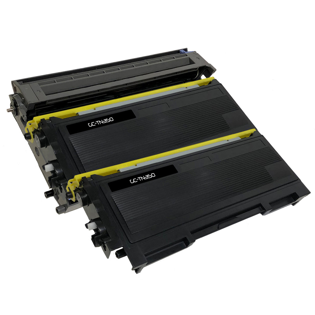 Compatible Toner Cartridge & Drum Unit Replacement for Brother TN-350 TN350 DR-350 DR350 (2 x Toner & 1 x Drum)