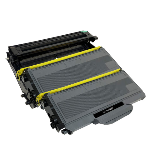 Compatible Toner Cartridge & Drum Unit Replacement for Brother TN-360 TN360 DR-360 DR360 (2 x Toner & 1 x Drum)