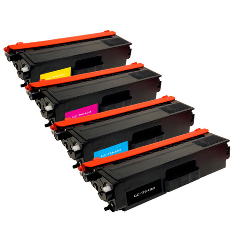 Compatible Toner Cartridge Replacement for Brother TN-433BK TN433BK TN-433C TN433C TN-433M TN433M TN-433Y TN433Y (4 PACK)