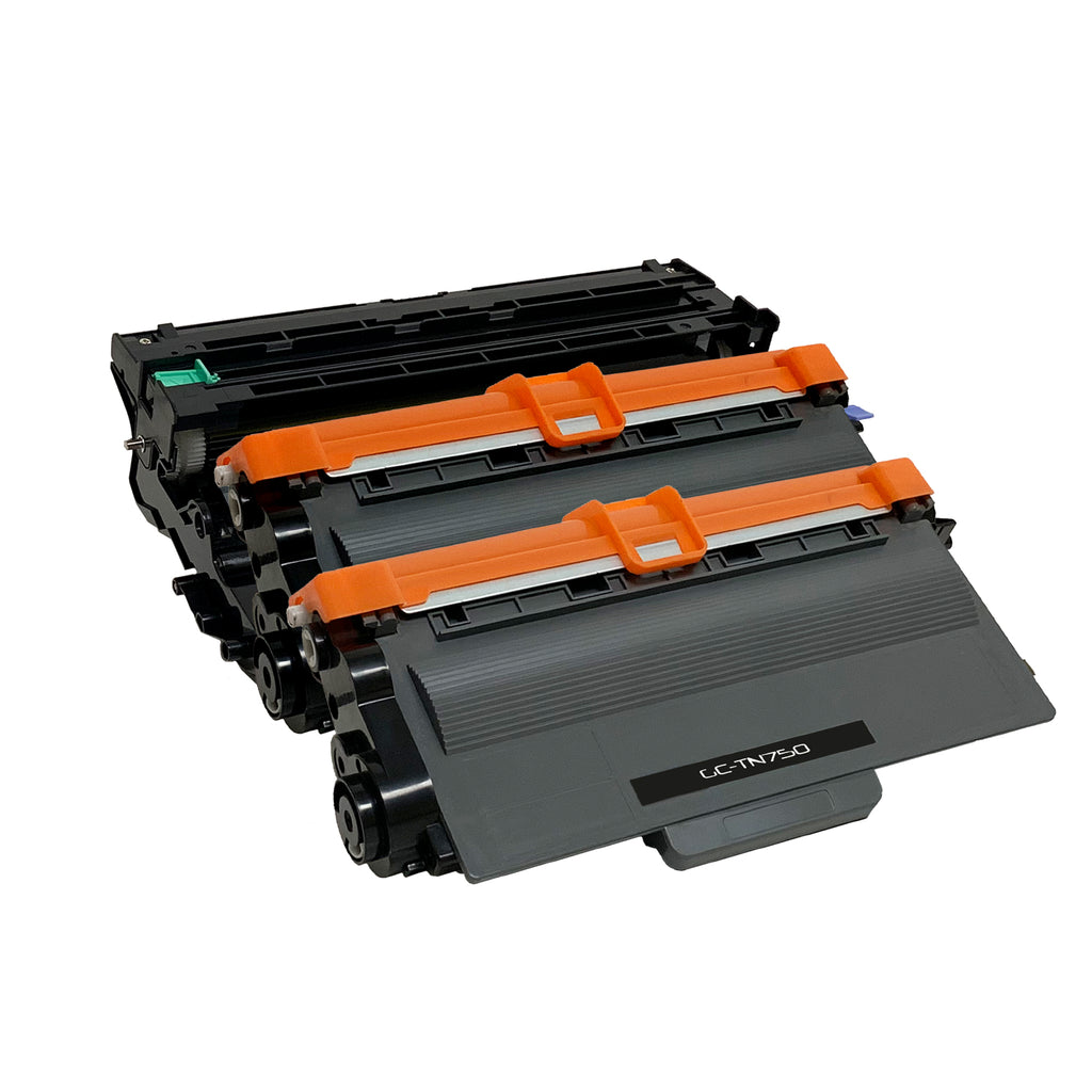 Compatible Toner Cartridge & Drum Unit Replacement for Brother TN-750 TN750 DR-720 DR720 (2 x Toner & 1 x Drum)