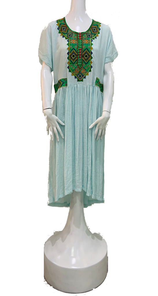 Menen Kuchi Dress Turquoise