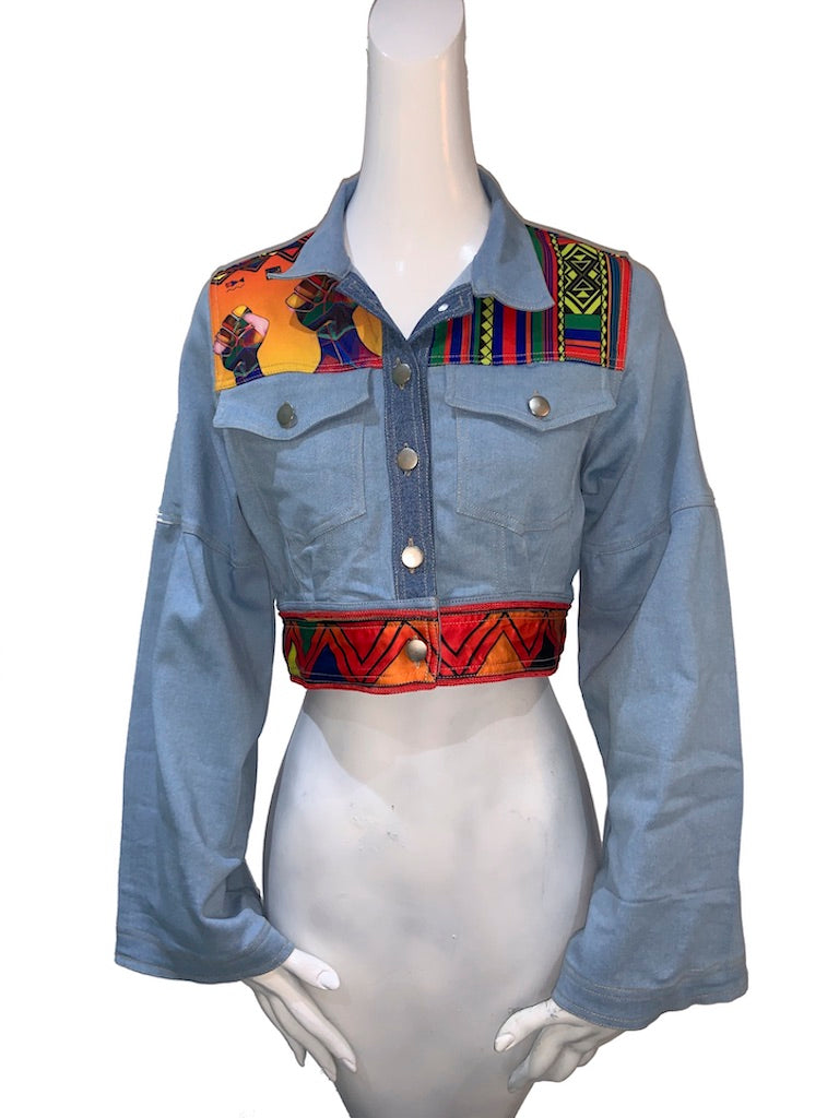 Cropped Afro-Mido Light Denim Jacket