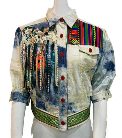 Fringed Denim Jacket Size L