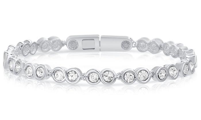 Infinity Tennis Bracelet made with Swarovski Crystals - Riakoob Jewelry www.goldennycjewelry.com fashion jewelry for women