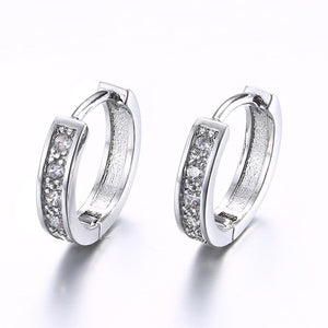 Crystal Huggie Earring in White Gold Plated