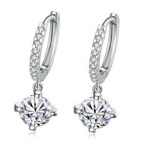 Crystal Drop Earring in White Gold Plated