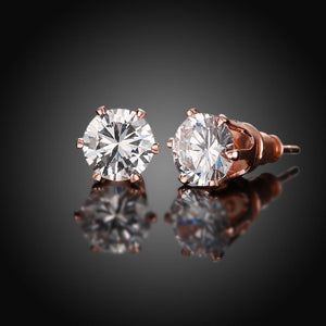Crystal Pave Stud Earring in 18K Rose Gold Plated