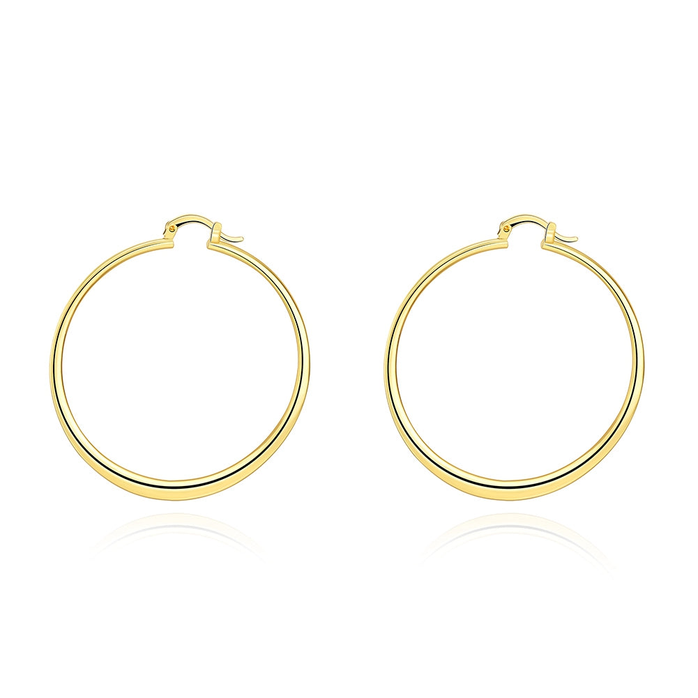 14K Gold Plating Sleek Classic Test Tube Hoop Earrings