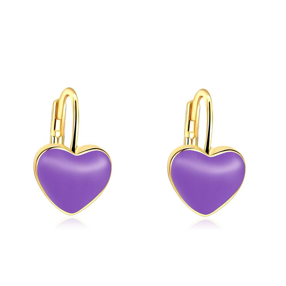 Purple Heart Leverback Earring in 18K Gold Plated