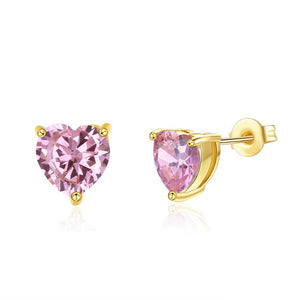 Pink Topaz 1.00 Ct Swarovski Crystal Stud Earring in 18K Gold Plated