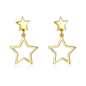 Double Star Stud Earring in 18K Gold Plated