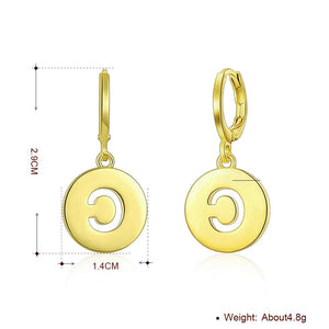 Letter C Drop Earring in 18K Gold Plated